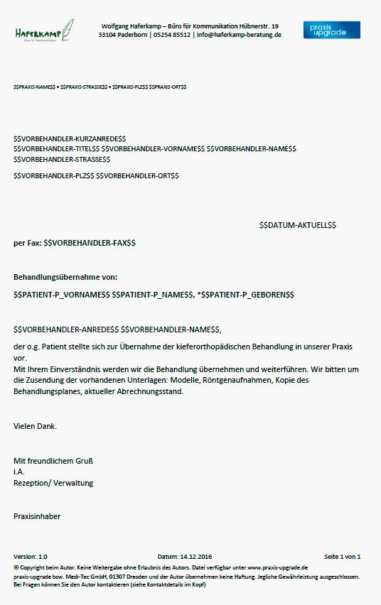 Briefvorlage Anforderung Der Unterlagen Praxis Upgrade