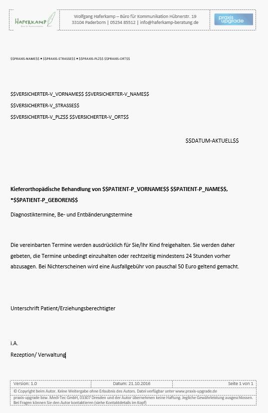 Briefvorlage Ausfallhonorar Praxis Upgrade
