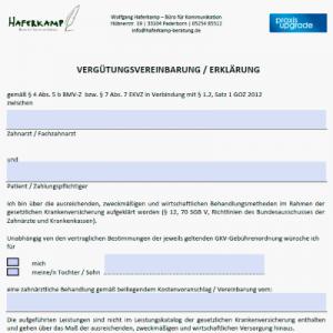 Vergütungsvereinbarung / Erklärung