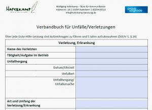 Verbandbuch für Unfälle/Verletzungen